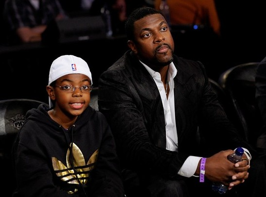 CHRIS TUCKER AND SON AT NBA ALL STAR GAME