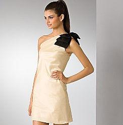 Aqua Ivory Taffeta One Shoulder Dress with Bow