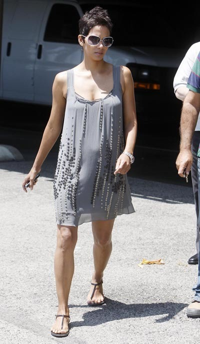 Halle pictured with a slight bump last month