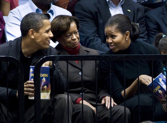 President Barack Obama, with mother-in-law Marian Robinson, first lady Michelle Obama at a game on Saturday, Nov. 28, 2009.