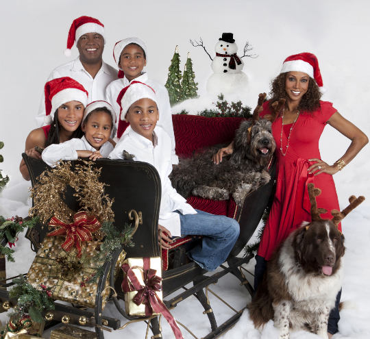 family portrait holly robinson peete and family get festive - Black Family Christmas Pictures