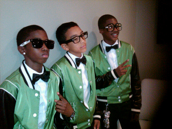 Christian Combs, Jordan Beckford, and a friend pose before their video shoot