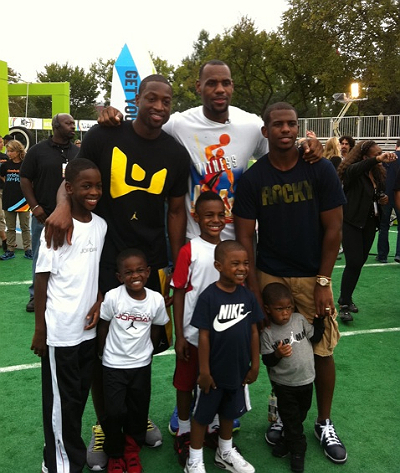 (L to R) Dwyane Wade, Lebron James, Chris Paul and their sons!