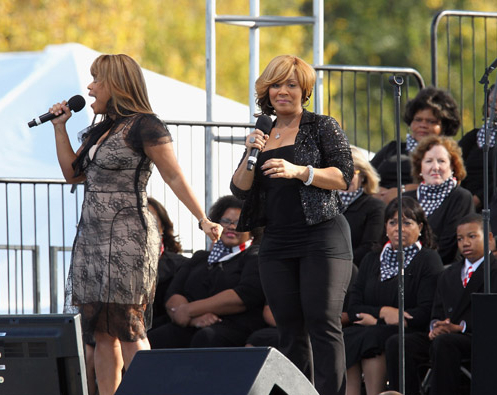Mary Mary sings at the Martin Luther King, Jr. Washington Memorial dedication at the West Potomac Park on October 16, 2011 in Washington, DC.