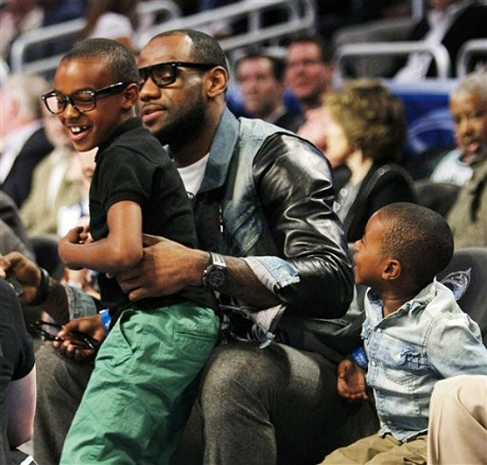 LEBRON JAMES HANGS OUT WITH HIS FAVORITE BOYS