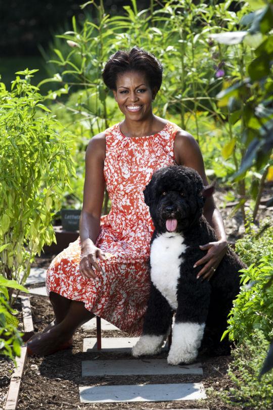 Bo and Michelle Obama