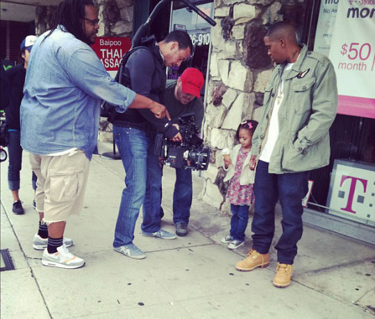 Leah and Nas on the set. Leah is expected to portray Destiny as a little girl.