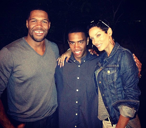 Michael Strahan, his son, and girlfriend Nicole Murphy