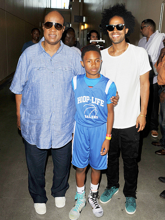 Stevie Wonder with sons Kailand Obasi Morris and Kwame Morris