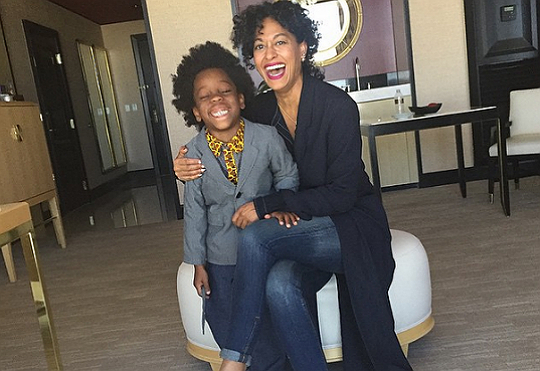 TRACEE ELLIS ROSS AND NEPHEW GOOF OFF FOR CAMERA