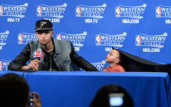 May 27, 2015; Oakland, CA, USA; Golden State Warriors guard Stephen Curry (30) and Riley Curry address the media in a press conference after game five of the Western Conference Finals of the NBA Playoffs against the Houston Rockets at Oracle Arena. Mandatory Credit: Kyle Terada-USA TODAY Sports ORG XMIT: USATSI-225546 ORIG FILE ID:  20150527_kkt_st3_010.jpg