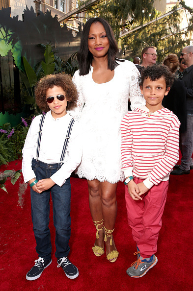 "HOLLYWOOD, CALIFORNIA - APRIL 04:Actress Garcelle Beauvais (center) and sons Jax Joseph Nilon (L) and Jaid Thomas Nilon (R) attend the premiere of Disney's ""The Jungle Book"" at the El Capitan Theatre on April 4, 2016 in Hollywood, California. (Photo by Todd Williamson/Getty Images)"