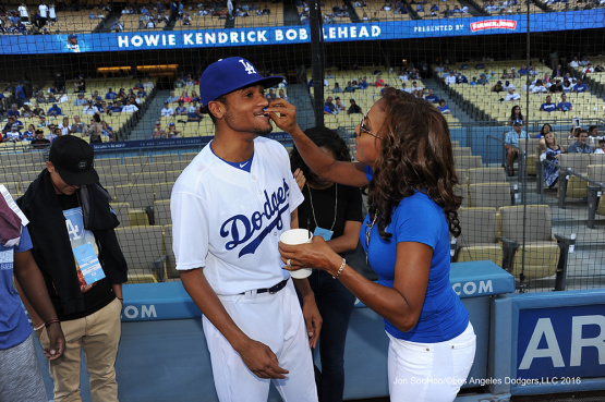 R.J.Peete and mom, Holly Robinson-Peete prior to game against the Philadelphia Phillies Tuesday, August 8, 2016 at Dodger Stadium in Los Angeles,California. Photo by Jon SooHoo/©Los Angeles Dodgers,LLC 2016