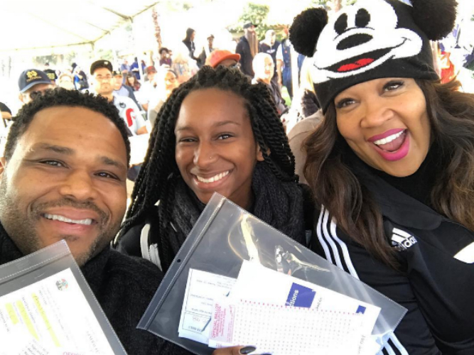Kyra and Anthony Anderson cast their votes together. Guess who they met up with at the polling place?