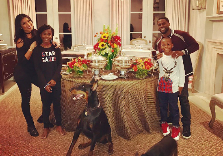 Kevin Hart and the family gathered around the dining table for a wholesome meal. The family's dog was on guard!