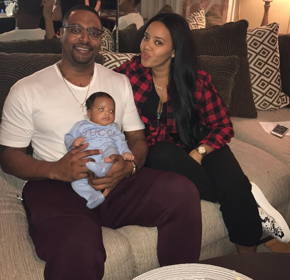 Angela Simmons cozied up next to her son and fiance.
