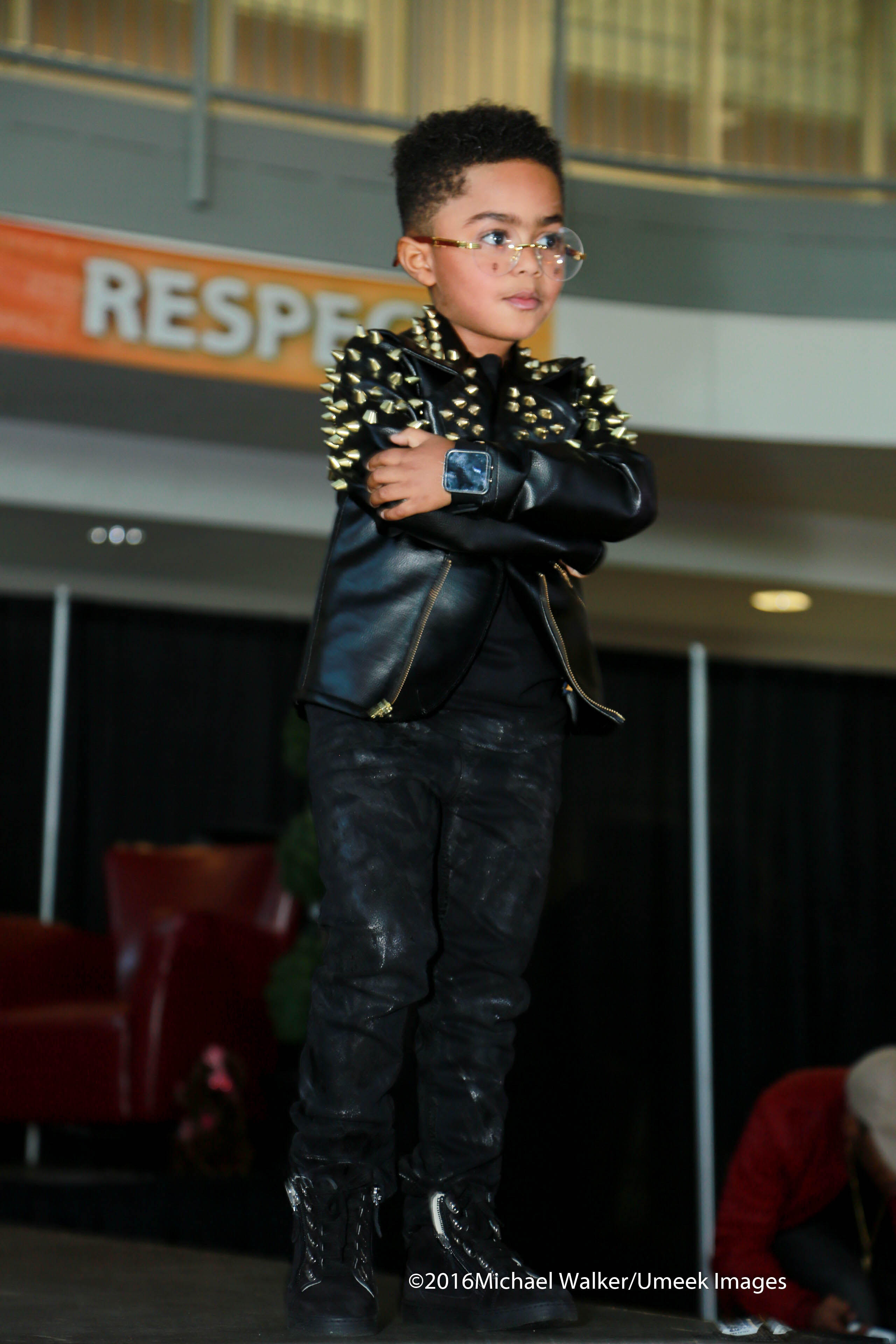 Derrick Rose's little son PJ  has a brand called Bullie's brand, which was featured on the runway.