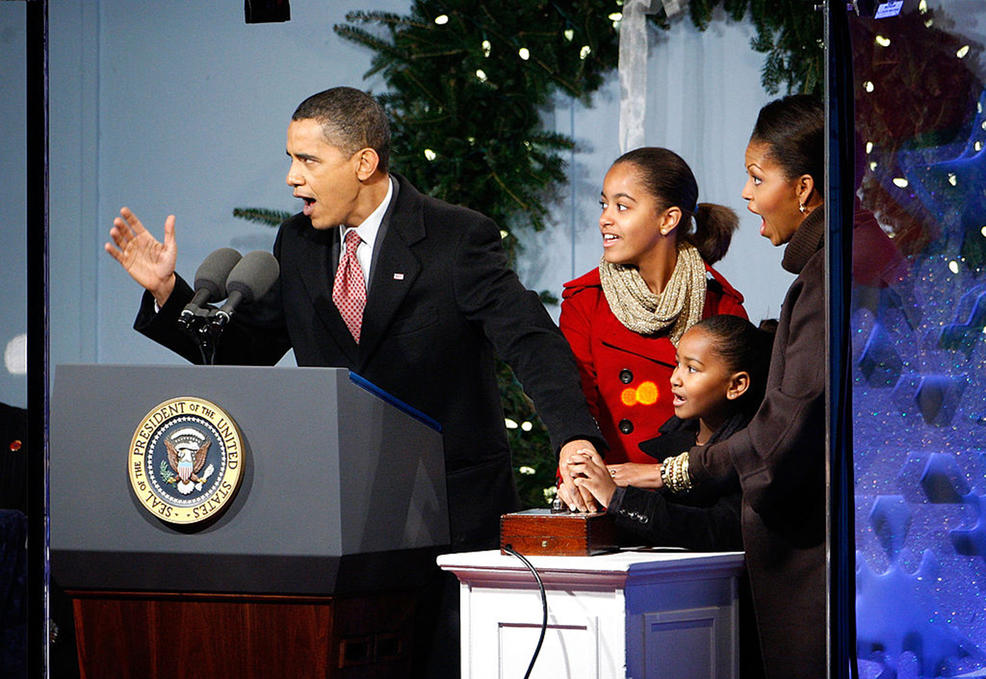 The Obamas' first National Tree Lighting ceremony on Capitol Hill in 2009.