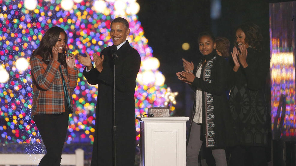 Malia lets the Christmas tree serve as her backdrop during the 2013 ceremony.