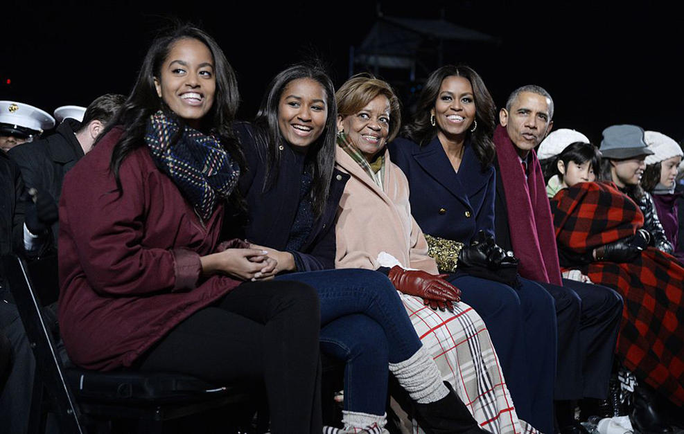 The Obamas are united for the cause at the 2015 National Tree Lighting ceremony.