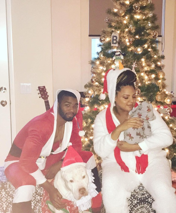 Marsha Ambrosius and family get into the holiday spirit.