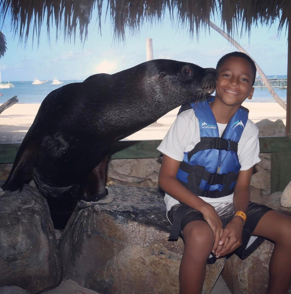 "It seems that Rodney Jr. has made a friend. ""The Seal almost broke his neck trying to reach Rocko."""