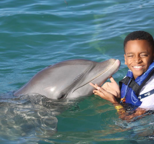 "Little Rodney takes a swim with the dolphins. ""My Big Boy did that."""