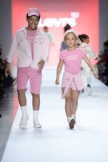 Harper Tillman struts her stuff down the runway in Levis pink with pink converse to match. Harper is definitely is a young woman on a mission. Getty Images. Rookie USA Fashion Show, New York Fashion Week: The Shows at Gallery 3, Skylight Clarkson Sq on February 15, 2017 in New York City.