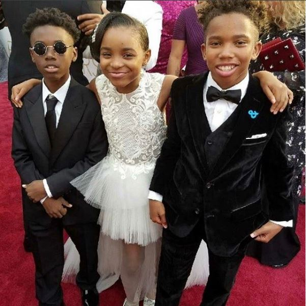 The red carpet smiles would not be complete without these three taking a moment to snap a pic together. How cool is Hibbert with the addition of his shades at the 89th Annual Academy Awards at Hollywood & Highland Center on February 26, 2017 in Hollywood, California.
