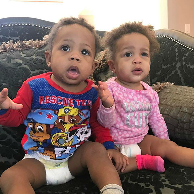 Terricka and Antonio's twins are too cute for words-even in their diapers!