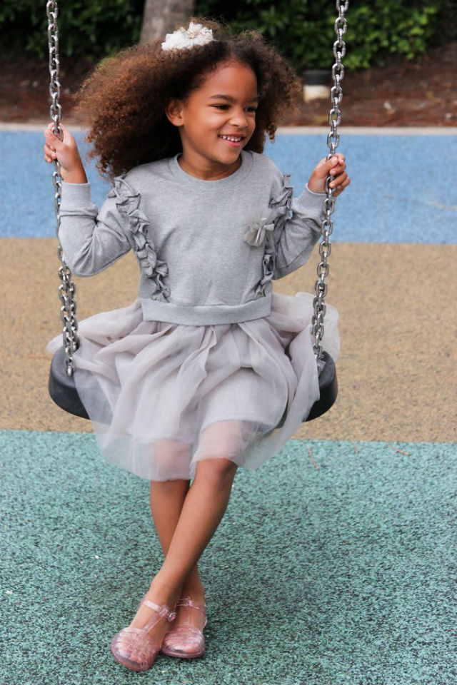 Heather grey sweater dress with built in tutu. $58.00