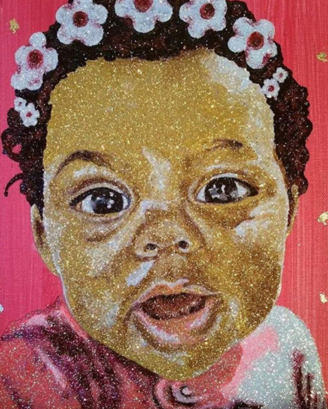 MARSHA AMBROSIUS SHARES GLITTERY PAINTING OF DAUGHTER IN HONOR OF MOTHER'S DAY