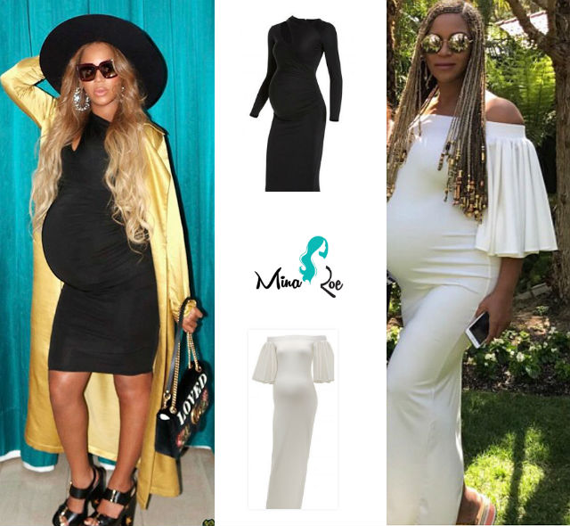 a98b5e5af03 ... showed off her growing baby bump in a Mina Roe Aaliyah dress. The dress  retails for ( 120) and is totally affordable for a fashionable mom-to-be.
