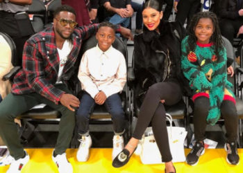 KEVIN HART AND THE FAMILY CATCH A BASKETBALL GAME