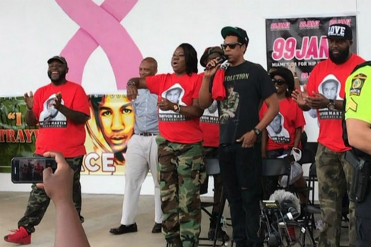 JAY-Z STOPS BY THE TRAYVON MARTIN PEACE WALK TO HONOR THE LATE TEEN