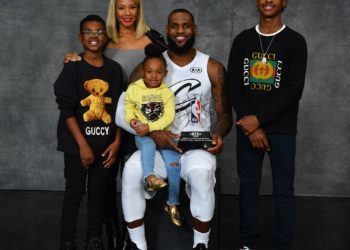 LEBRON JAMES CELEBRATES WIN WITH HIS KIDS