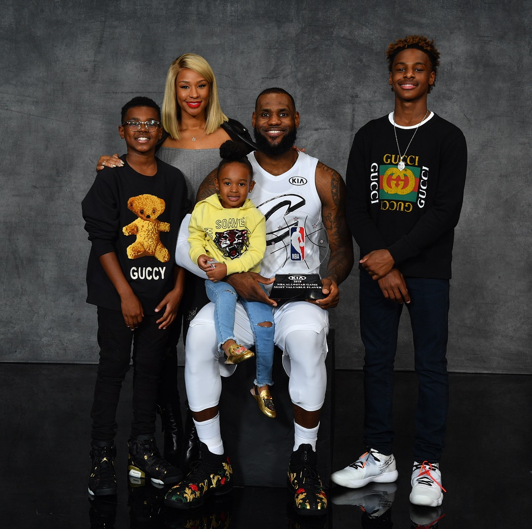 lebron james celebrates win with his kids