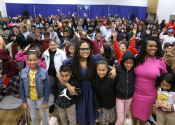 "COMPTON, CA - MARCH 02:  Director Ava DuVernay and City of Compton Mayor, Aja Brown attend a special advance private screeing of ""A Wrinkle in Time"" attended by students from various middle schools around the city of Compton on March 2, 2018 in Compton, California.  (Photo by Jesse Grant/Getty Images for Disney)"