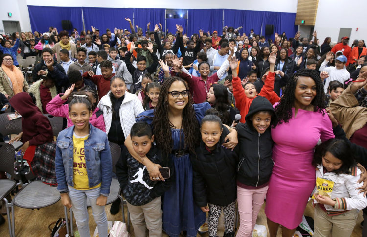 """COMPTON, CA - MARCH 02:  Director Ava DuVernay and City of Compton Mayor, Aja Brown attend a special advance private screeing of """"A Wrinkle in Time"""" attended by students from various middle schools around the city of Compton on March 2, 2018 in Compton, California.  (Photo by Jesse Grant/Getty Images for Disney)"""