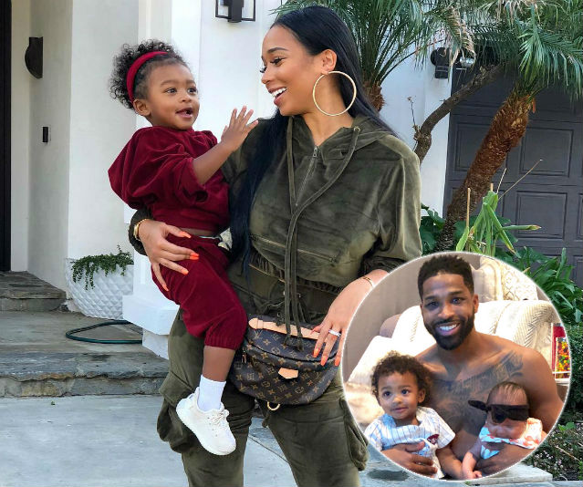 Jordan Craig poses with son Prince while Tristan Thompson poses with both of his kids(inset)