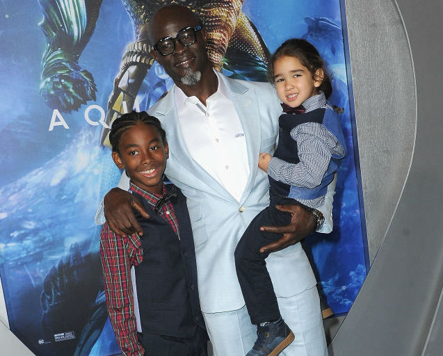 DJIMON HOUNSOU HAD SOME SPECIAL GUESTS AT THE 'AQUAMAN' PREMIERE