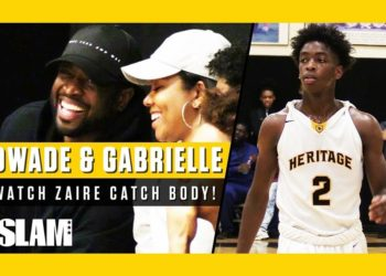 GABRIELLE UNION AND DWYANE WADE CHEER ON ZAIRE WADE AT HIS RECENT GAME