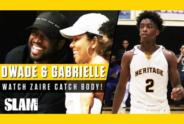 GABRIELLE UNION AND DWYANE WADE CHEER ON ZAIRE WADE AT HIS