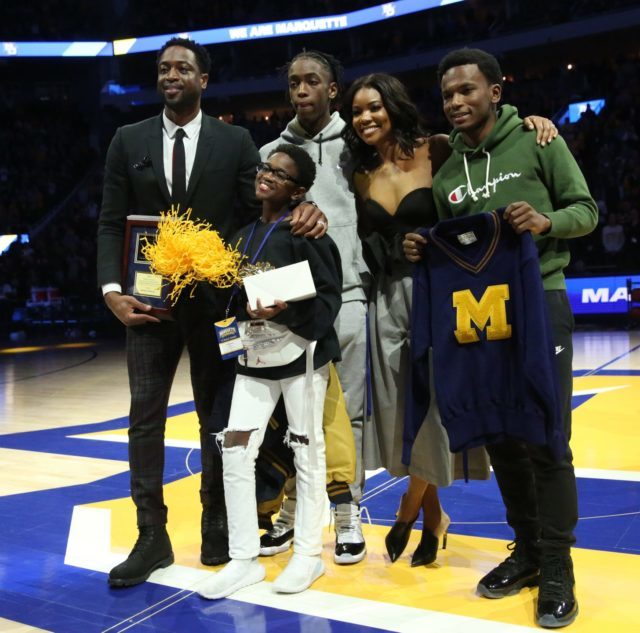 size 40 cbacb cd0fc DWYANE WADE SURPRISED BY HIS KIDS AT MARQUETTE'S JERSEY ...