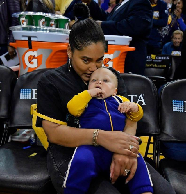 120c9834856 Canon Curry had the opportunity to enjoy his first game with his mom and  dad at Oracle Arena in Oakland earlier this week. Ayesha Curry sat  courtside with ...
