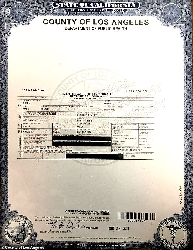 Psalm West birth certificate