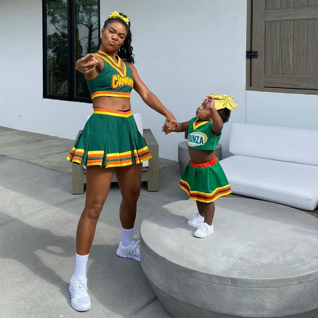Gabrielle Union and Her Daughter Twin in Matching Bring It On Costumes