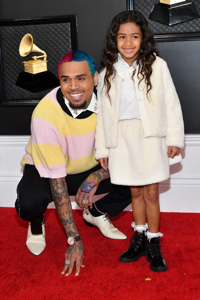 CHRIS BROWN AND DAUGHTER, ROYALTY BROWN, ATTEND THE GRAMMYS