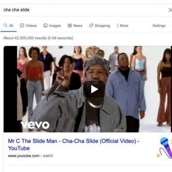 """""""CHA CHA SLIDE"""" CELEBRATES 20 YEARS AND GOOGLE HELPS TO CELEBRATE THE OCCASSION"""